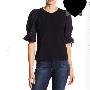 Anthro Mustard Seed Black Laced Short Sleeve Top L